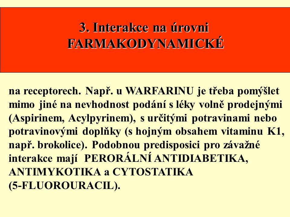 3. Interakce na úrovni FARMAKODYNAMICKÉ na receptorech. Např. u WARFARINU je třeba pomýšlet mimo jiné na nevhodnost podání s léky volně prodejnými (As