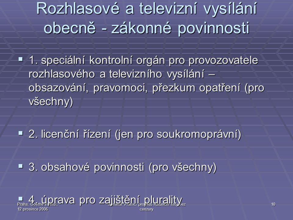 Praha, Goethe Institut, 12.prosince 2006 Seminář v rámci projektu Radniční listy bez cenzury 10 Rozhlasové a televizní vysílání obecně - zákonné povin
