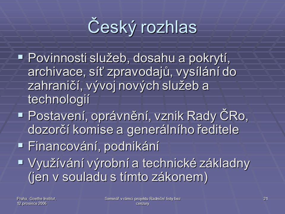 Praha, Goethe Institut, 12.prosince 2006 Seminář v rámci projektu Radniční listy bez cenzury 21 Český rozhlas  Povinnosti služeb, dosahu a pokrytí, a