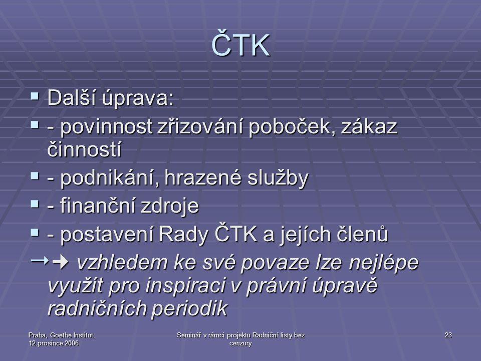 Praha, Goethe Institut, 12.prosince 2006 Seminář v rámci projektu Radniční listy bez cenzury 23 ČTK  Další úprava:  - povinnost zřizování poboček, z
