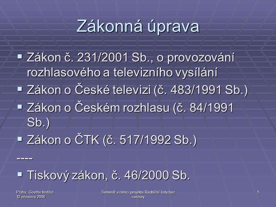 Praha, Goethe Institut, 12.prosince 2006 Seminář v rámci projektu Radniční listy bez cenzury 5 Zákonná úprava  Zákon č. 231/2001 Sb., o provozování r