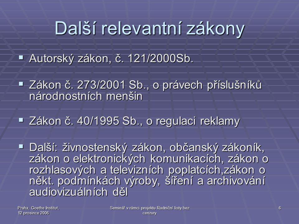 Praha, Goethe Institut, 12.prosince 2006 Seminář v rámci projektu Radniční listy bez cenzury 6 Další relevantní zákony  Autorský zákon, č. 121/2000Sb