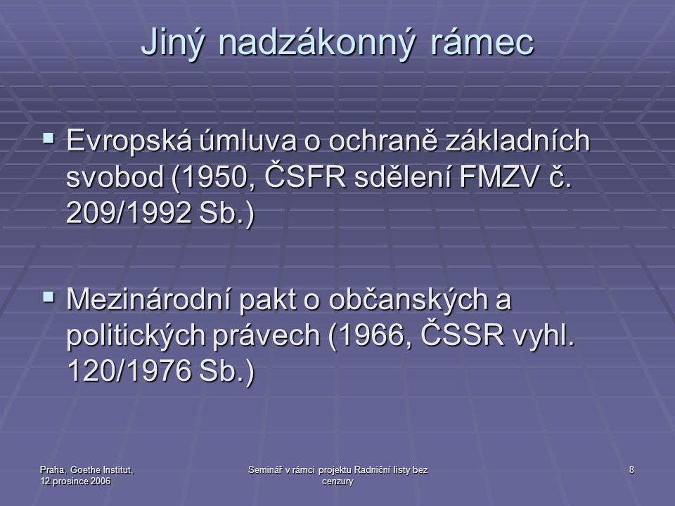 Praha, Goethe Institut, 12.prosince 2006 Seminář v rámci projektu Radniční listy bez cenzury 8 Jiný nadzákonný rámec  Evropská úmluva o ochraně základních svobod (1950, ČSFR sdělení FMZV č.