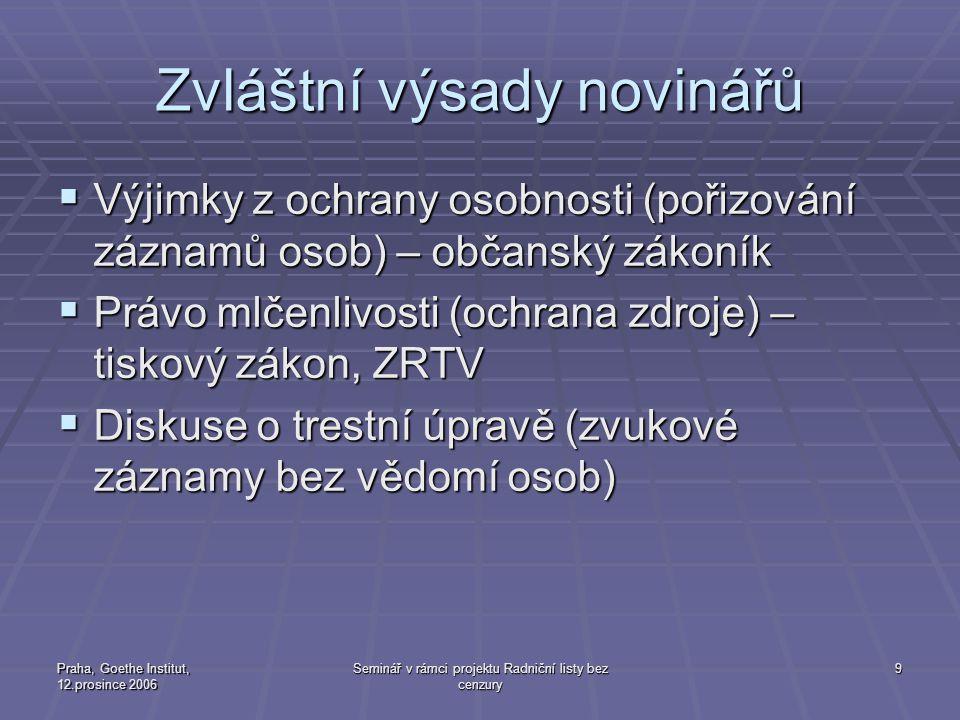 Praha, Goethe Institut, 12.prosince 2006 Seminář v rámci projektu Radniční listy bez cenzury 10 Rozhlasové a televizní vysílání obecně - zákonné povinnosti  1.