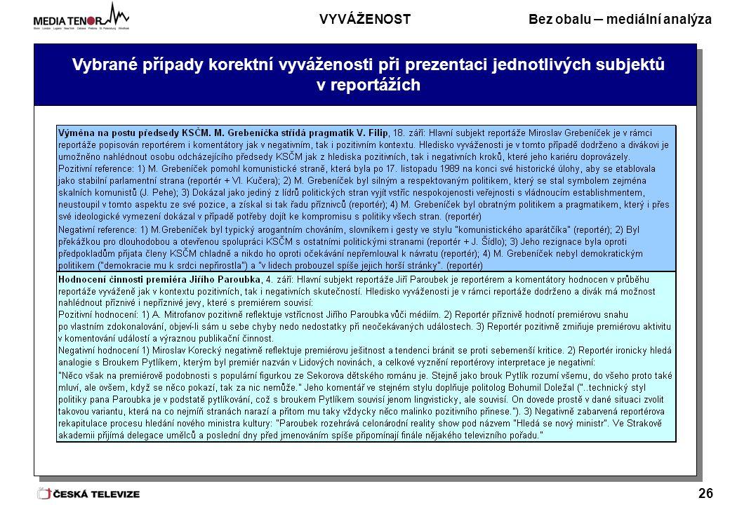 Bez obalu – mediální analýza 26 Vybrané případy korektní vyváženosti při prezentaci jednotlivých subjektů v reportážích VYVÁŽENOST