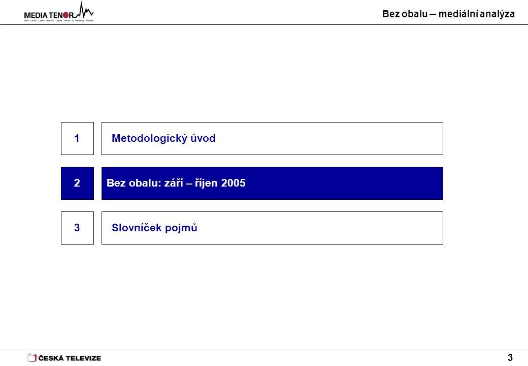 Bez obalu – mediální analýza 3 Metodologický úvod 3 2Bez obalu: září – říjen 2005 Slovníček pojmů 1
