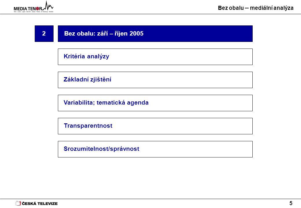 Bez obalu – mediální analýza 5 2 Základní zjištění Variabilita; tematická agenda Bez obalu: září – říjen 2005 Transparentnost Srozumitelnost/správnost Kritéria analýzy