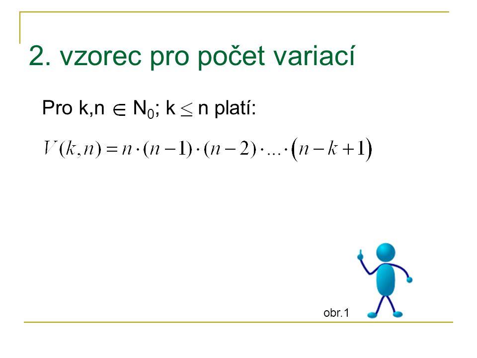 2. vzorec pro počet variací Pro k,n N 0 ; k n platí: obr.1