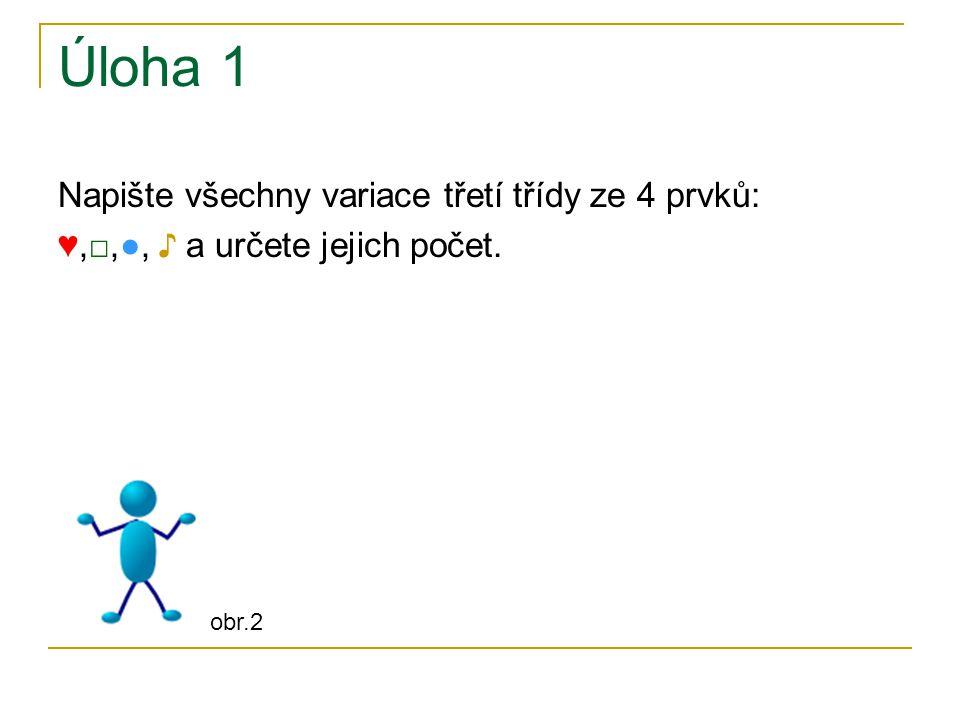 Úloha 1 Napište všechny variace třetí třídy ze 4 prvků: ♥,□,●, ♪ a určete jejich počet. obr.2