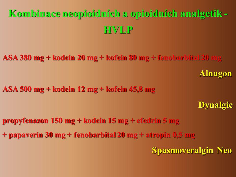 Kombinace neopioidních a opioidních analgetik - HVLP ASA 380 mg + kodein 20 mg + kofein 80 mg + fenobarbital 20 mg Alnagon Alnagon ASA 500 mg + kodein