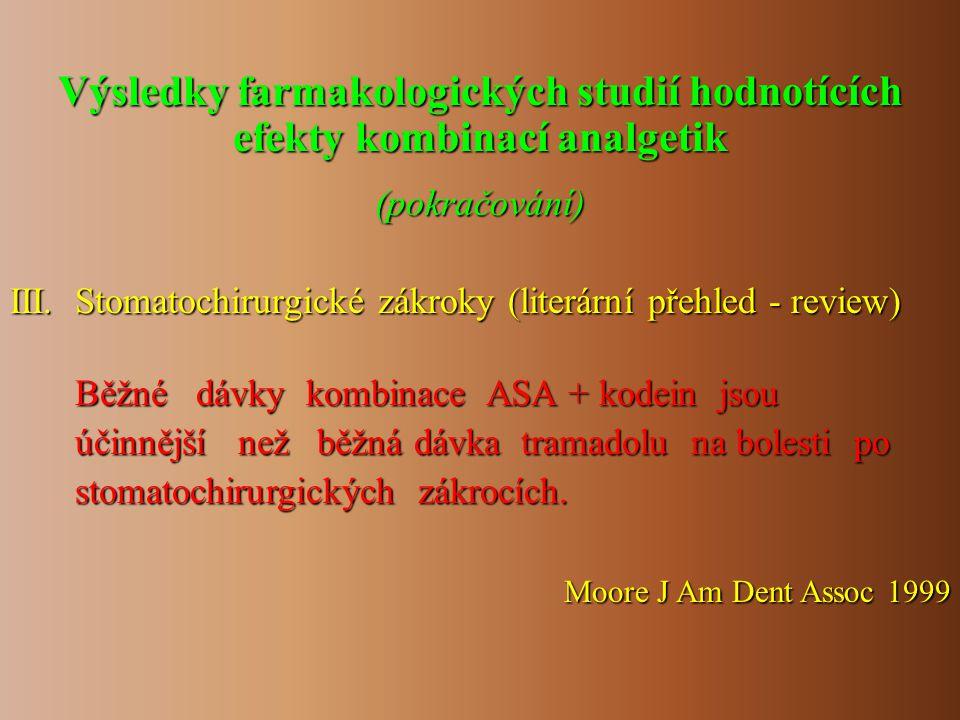 III. Stomatochirurgické zákroky (literární přehled - review) Běžné dávky kombinace ASA + kodein jsou Běžné dávky kombinace ASA + kodein jsou účinnější