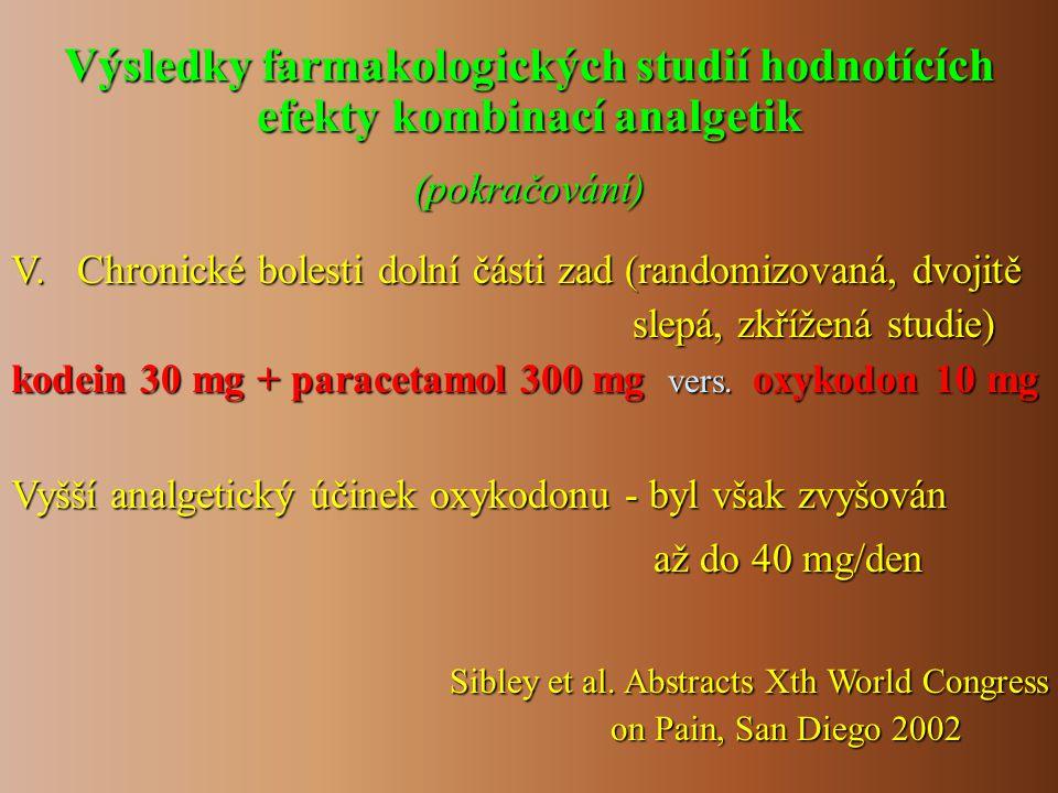 V. Chronické bolesti dolní části zad (randomizovaná, dvojitě slepá, zkřížená studie) slepá, zkřížená studie) kodein 30 mg + paracetamol 300 mg vers. o