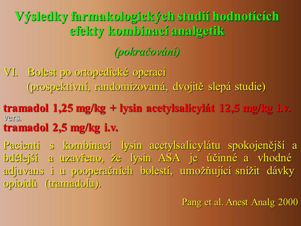 VI. Bolest po ortopedické operaci (prospektivní, randomizovaná, dvojitě slepá studie) (prospektivní, randomizovaná, dvojitě slepá studie) tramadol 1,2