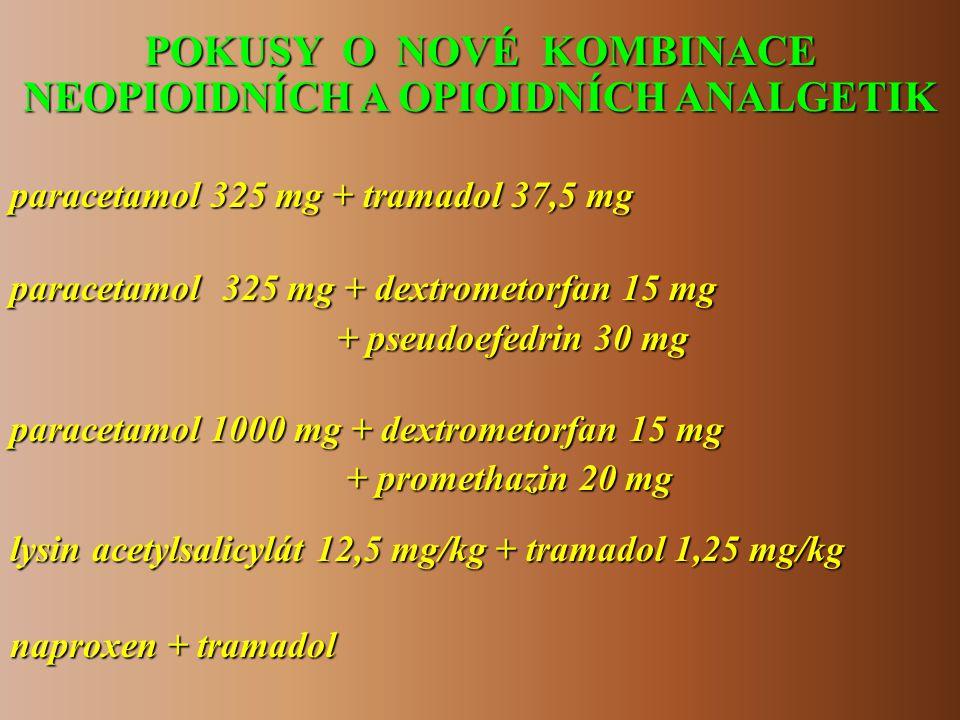 POKUSY O NOVÉ KOMBINACE NEOPIOIDNÍCH A OPIOIDNÍCH ANALGETIK paracetamol 325 mg + tramadol 37,5 mg naproxen + tramadol paracetamol 325 mg + dextrometor