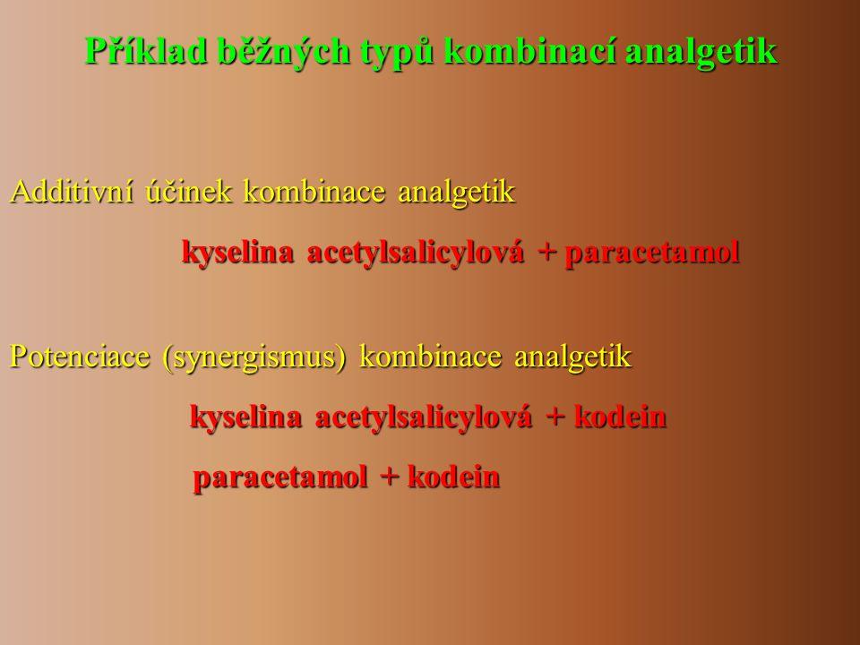 Příklad běžných typů kombinací analgetik Additivní účinek kombinace analgetik kyselina acetylsalicylová + paracetamol Potenciace (synergismus) kombina