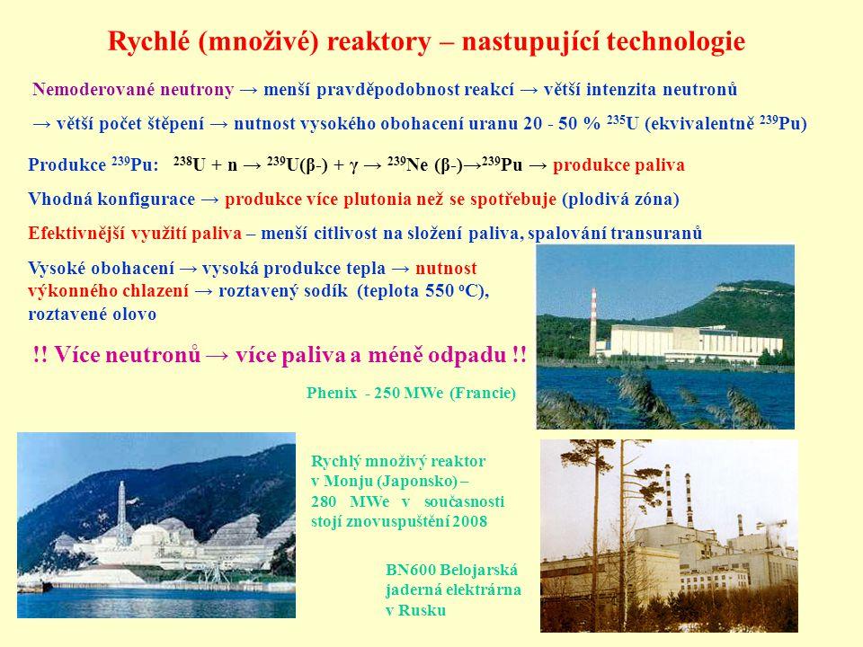 Nemoderované neutrony → menší pravděpodobnost reakcí → větší intenzita neutronů → větší počet štěpení → nutnost vysokého obohacení uranu 20 - 50 % 235 U (ekvivalentně 239 Pu) Produkce 239 Pu: 238 U + n → 239 U(β-) + γ → 239 Ne (β-)→ 239 Pu → produkce paliva Vhodná konfigurace → produkce více plutonia než se spotřebuje (plodivá zóna) Efektivnější využití paliva – menší citlivost na složení paliva, spalování transuranů Vysoké obohacení → vysoká produkce tepla → nutnost výkonného chlazení → roztavený sodík (teplota 550 o C), roztavené olovo Phenix - 250 MWe (Francie) Rychlý množivý reaktor v Monju (Japonsko) – 280 MWe v současnosti stojí znovuspuštění 2008 BN600 Belojarská jaderná elektrárna v Rusku Rychlé (množivé) reaktory – nastupující technologie !.