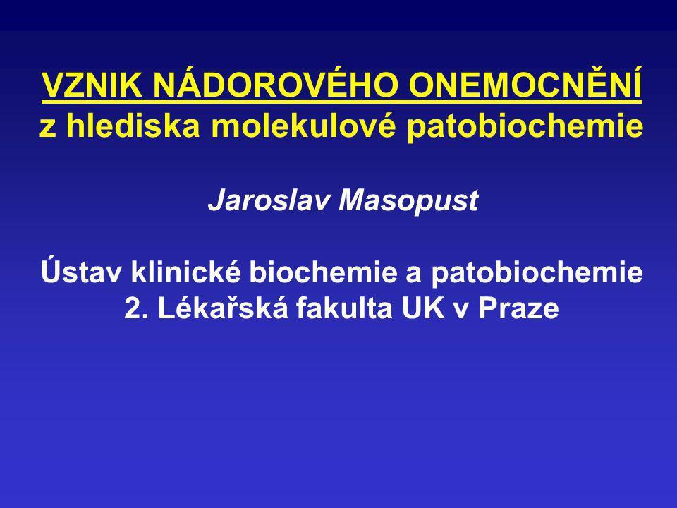 VZNIK NÁDOROVÉHO ONEMOCNĚNÍ z hlediska molekulové patobiochemie Jaroslav Masopust Ústav klinické biochemie a patobiochemie 2.