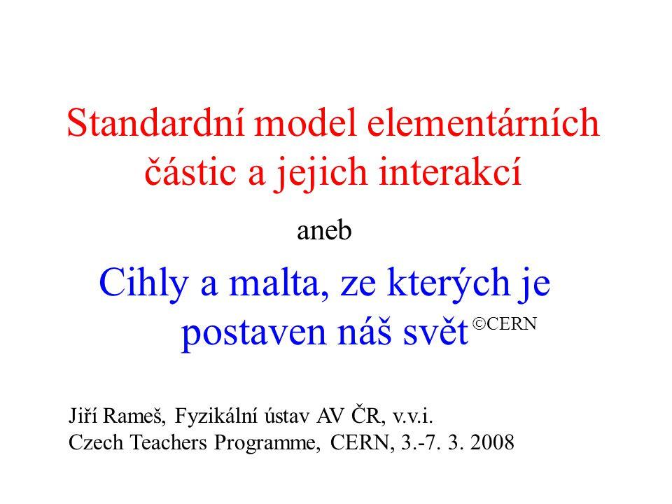 Standardní model a experimenty v CERN •objev nového typu slabých procesů, které elektroslabá teorie předpověděla (zprostředkovaných částicí Z) (1973) •objev nosičů slabých interakcí W a Z (1983) ( Za tento objev získali C.