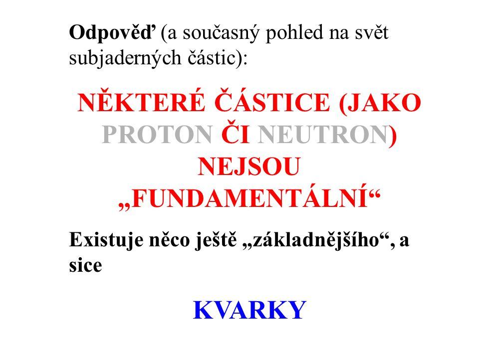 Základní částice hmoty jsou •leptony •kvarky Částice tvořící jádro (protony, neutrony) a jim podobné se skládají z několika málo typů kvarků.