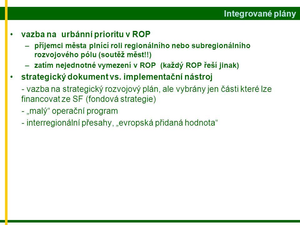 •vazba na urbánní prioritu v ROP –příjemci města plnící roli regionálního nebo subregionálního rozvojového pólu (soutěž měst!!) –zatím nejednotné vymezení v ROP (každý ROP řeší jinak) •strategický dokument vs.