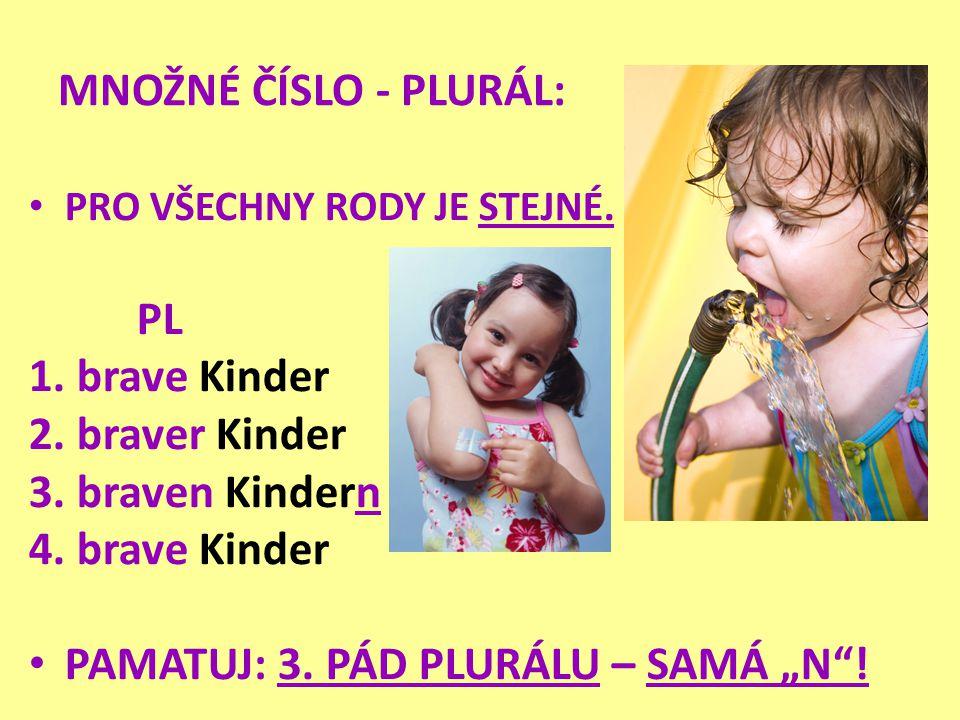 MNOŽNÉ ČÍSLO - PLURÁL: • PRO VŠECHNY RODY JE STEJNÉ. PL 1. brave Kinder 2. braver Kinder 3. braven Kindern 4. brave Kinder • PAMATUJ: 3. PÁD PLURÁLU –