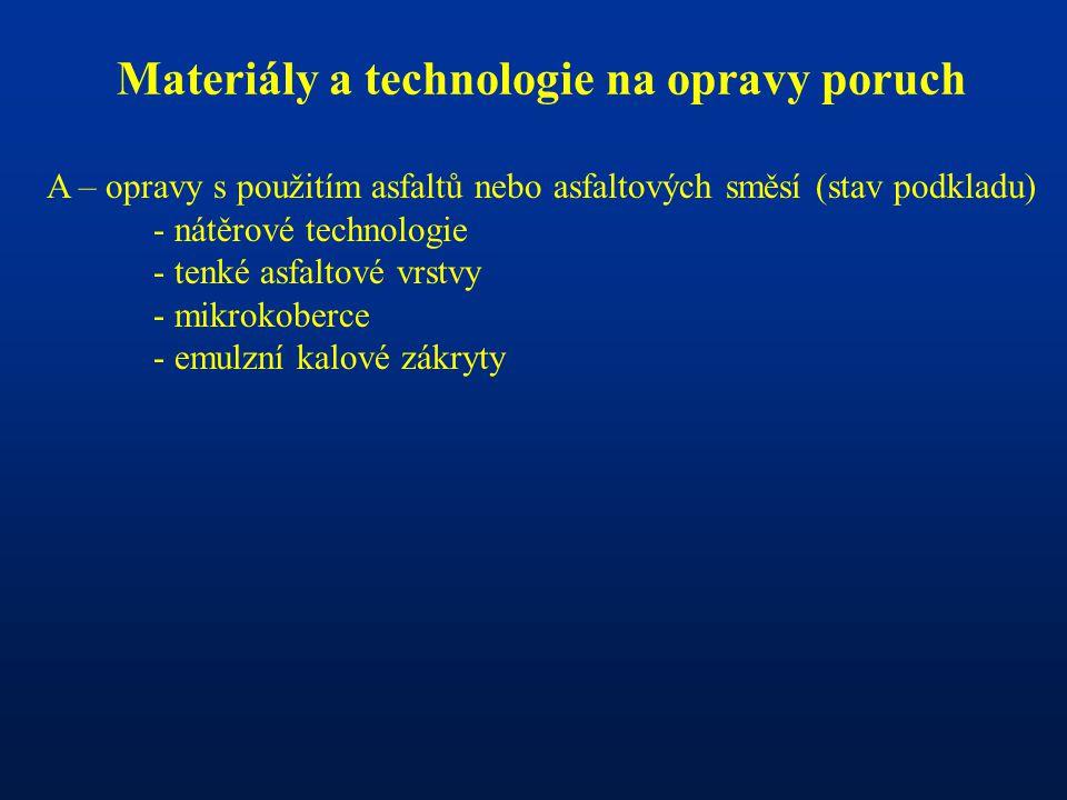 Materiály a technologie na opravy poruch A – opravy s použitím asfaltů nebo asfaltových směsí (stav podkladu) - nátěrové technologie - tenké asfaltové