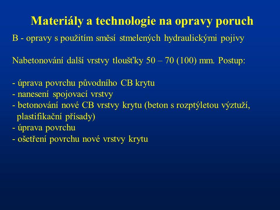 Materiály a technologie na opravy poruch B - opravy s použitím směsí stmelených hydraulickými pojivy Nabetonování další vrstvy tloušťky 50 – 70 (100)