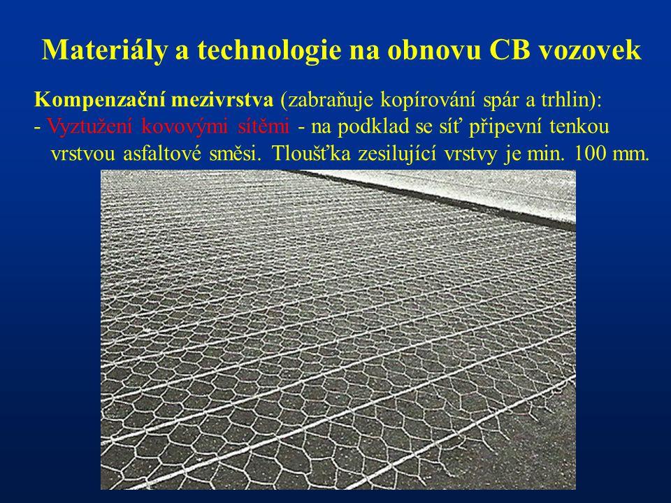 Materiály a technologie na obnovu CB vozovek Kompenzační mezivrstva (zabraňuje kopírování spár a trhlin): - Vyztužení kovovými sítěmi - na podklad se