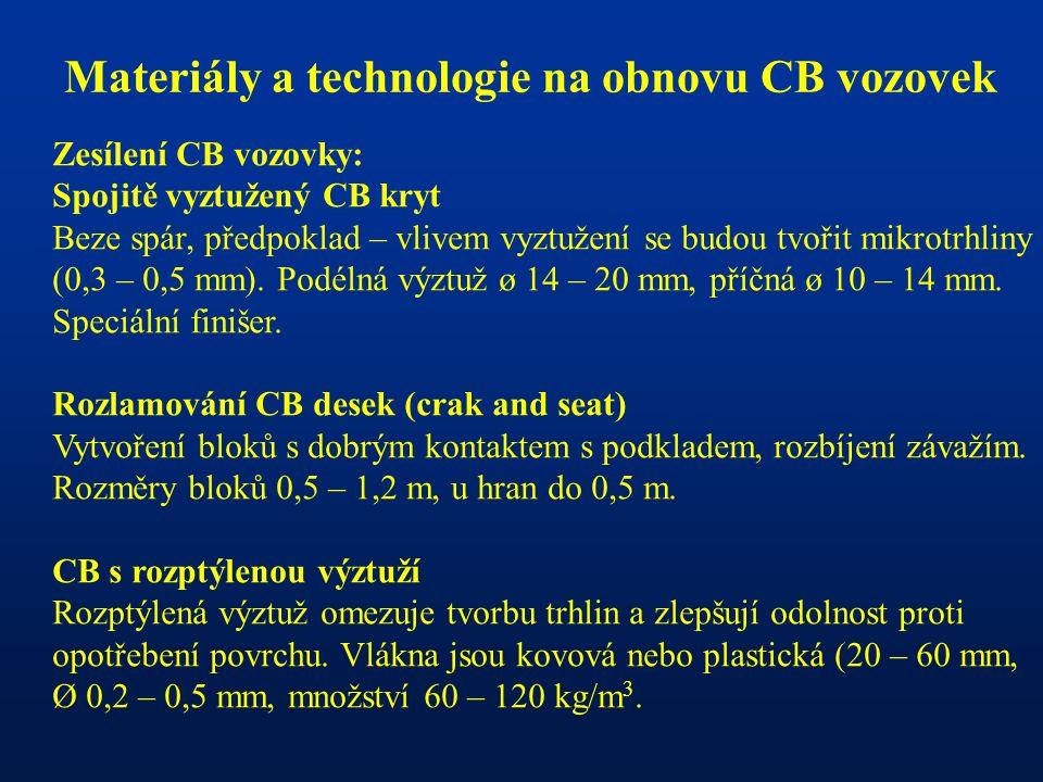 Materiály a technologie na obnovu CB vozovek Zesílení CB vozovky: Spojitě vyztužený CB kryt Beze spár, předpoklad – vlivem vyztužení se budou tvořit m