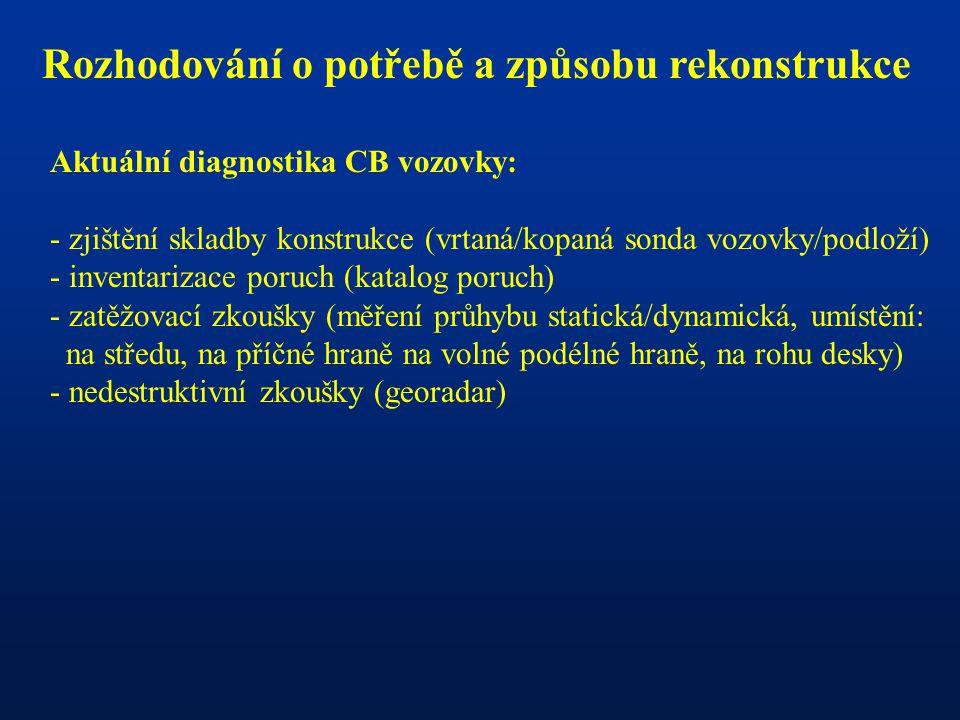 Rozhodování o potřebě a způsobu rekonstrukce Aktuální diagnostika CB vozovky: - zjištění skladby konstrukce (vrtaná/kopaná sonda vozovky/podloží) - in