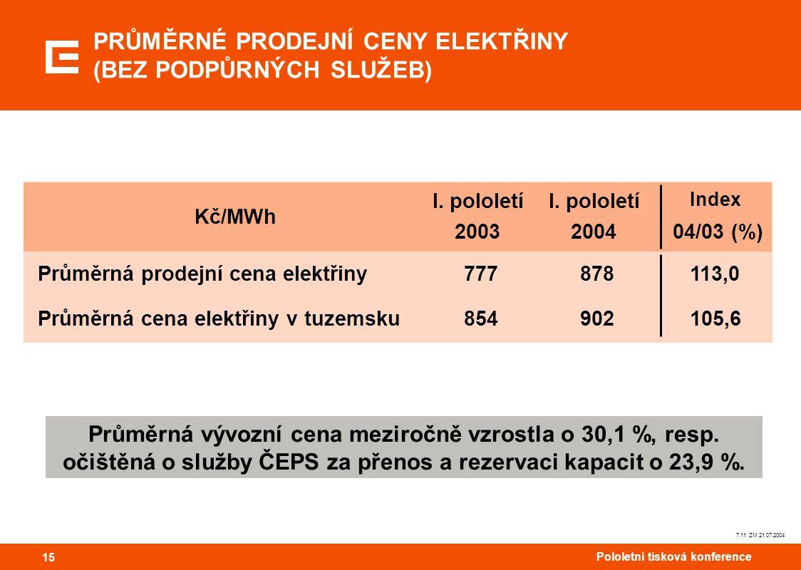 15 Pololetní tisková konference 15 7.11 ZM 21.07.2004 Průměrná vývozní cena meziročně vzrostla o 30,1 %, resp. očištěná o služby ČEPS za přenos a reze