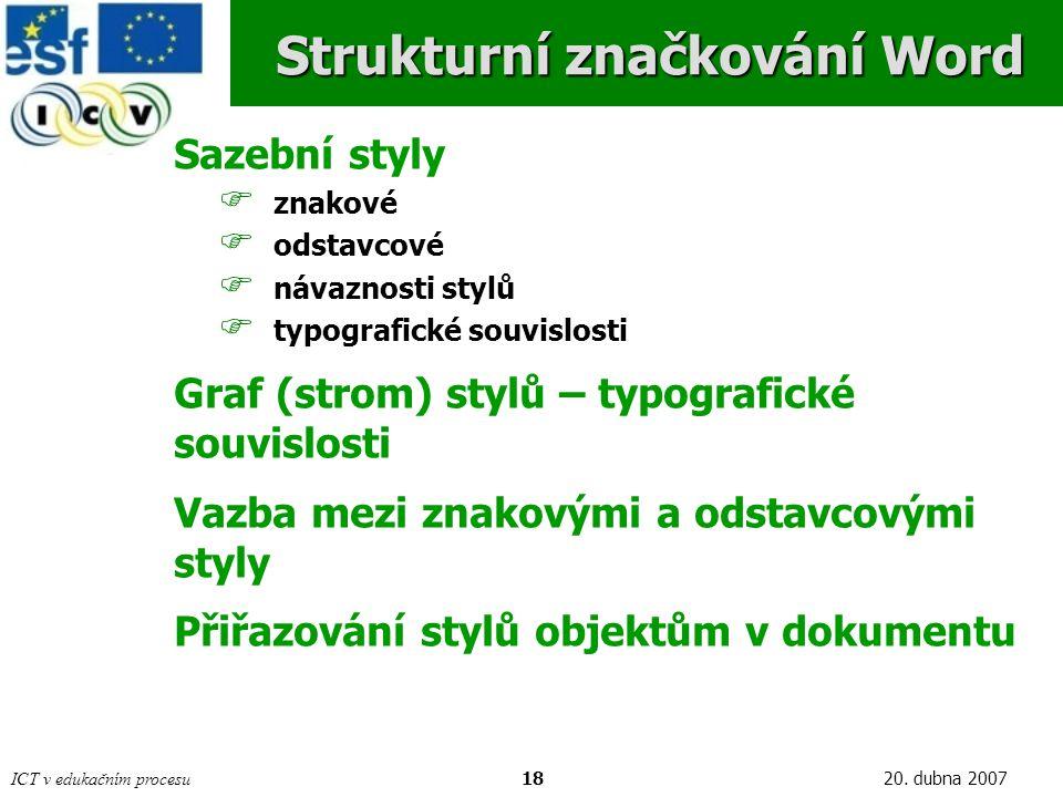 ICT v edukačním procesu1820. dubna 2007 Strukturní značkování Word Sazební styly  znakové  odstavcové  návaznosti stylů  typografické souvislosti
