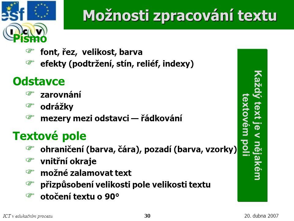 ICT v edukačním procesu3020. dubna 2007 Možnosti zpracování textu Písmo  font, řez, velikost, barva  efekty (podtržení, stín, reliéf, indexy) Odstav