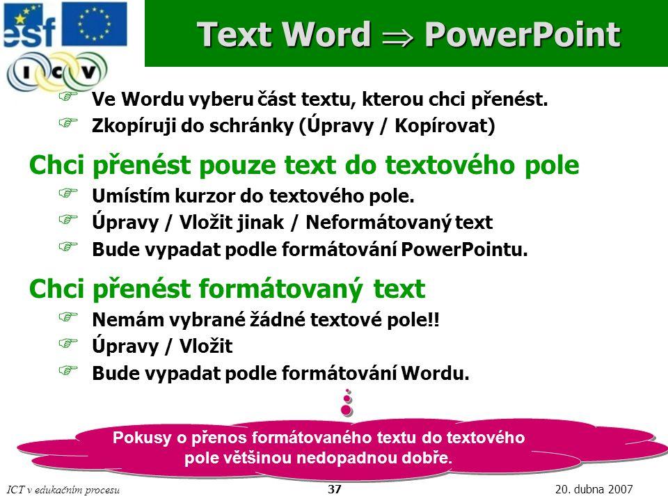 ICT v edukačním procesu3720. dubna 2007 Text Word  PowerPoint  Ve Wordu vyberu část textu, kterou chci přenést.  Zkopíruji do schránky (Úpravy / Ko