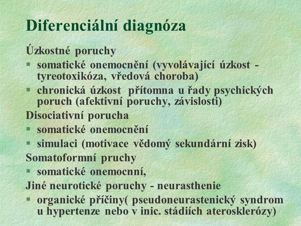 Diferenciální diagnóza Úzkostné poruchy  somatické onemocnění (vyvolávající úzkost - tyreotoxikóza, vředová choroba) §chronická úzkost přítomna u řad