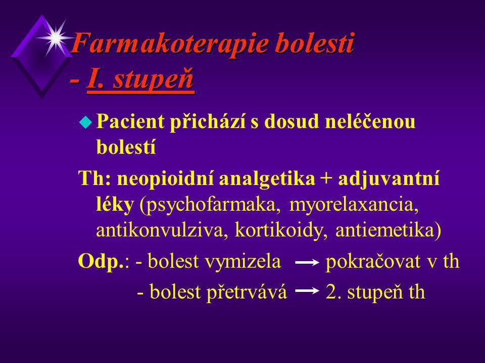 Farmakoterapie bolesti - I. stupeň u Pacient přichází s dosud neléčenou bolestí Th: neopioidní analgetika + adjuvantní léky (psychofarmaka, myorelaxan