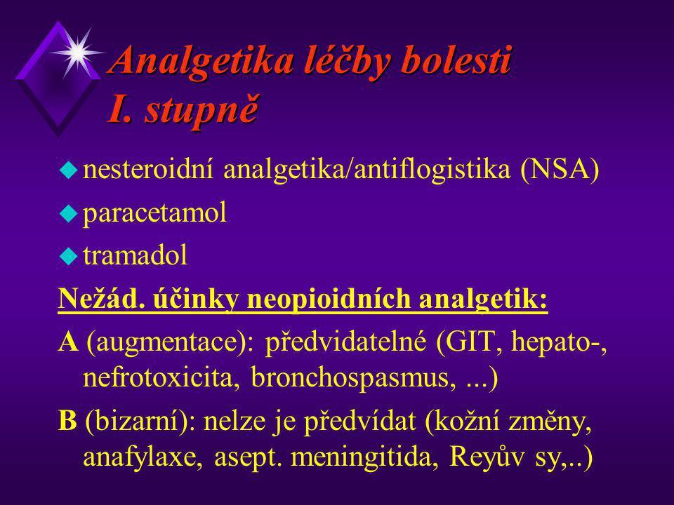 Analgetika léčby bolesti I. stupně u nesteroidní analgetika/antiflogistika (NSA) u paracetamol u tramadol Nežád. účinky neopioidních analgetik: A (aug