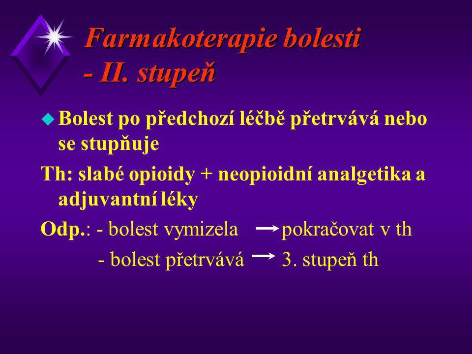 Farmakoterapie bolesti - II. stupeň u Bolest po předchozí léčbě přetrvává nebo se stupňuje Th: slabé opioidy + neopioidní analgetika a adjuvantní léky