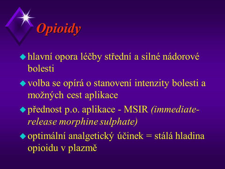 Opioidy u hlavní opora léčby střední a silné nádorové bolesti u volba se opírá o stanovení intenzity bolesti a možných cest aplikace u přednost p.o. a