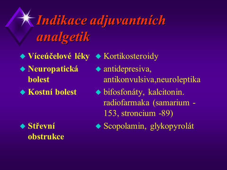 Indikace adjuvantních analgetik u Víceúčelové léky u Neuropatická bolest u Kostní bolest u Střevní obstrukce u Kortikosteroidy u antidepresiva, antiko