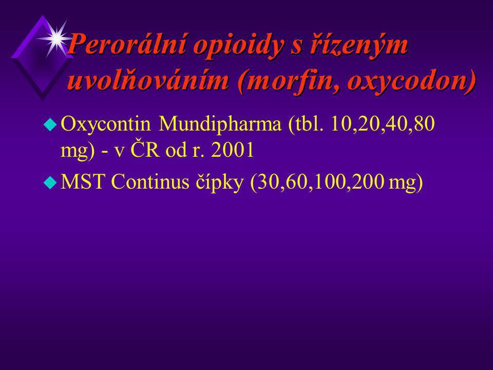 Perorální opioidy s řízeným uvolňováním (morfin, oxycodon) u Oxycontin Mundipharma (tbl. 10,20,40,80 mg) - v ČR od r. 2001 u MST Continus čípky (30,60