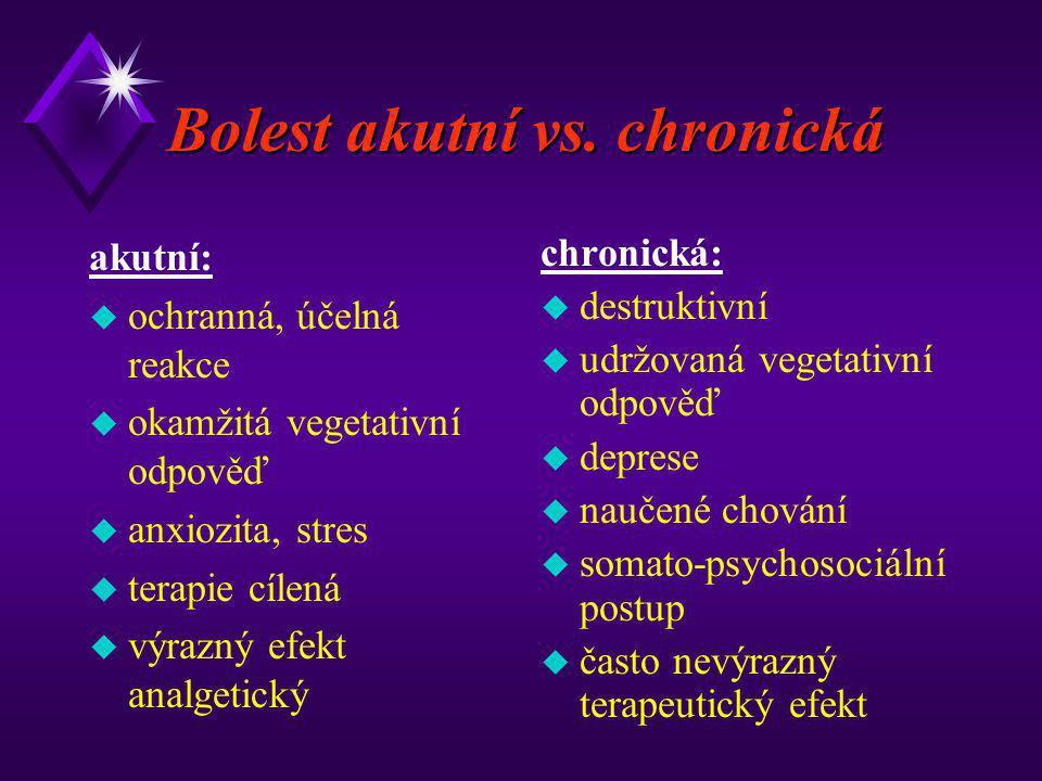 Bolest akutní vs. chronická akutní: u ochranná, účelná reakce u okamžitá vegetativní odpověď u anxiozita, stres u terapie cílená u výrazný efekt analg