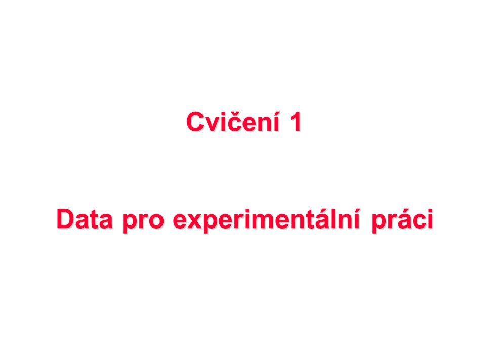 Cvičení 1 Data pro experimentální práci
