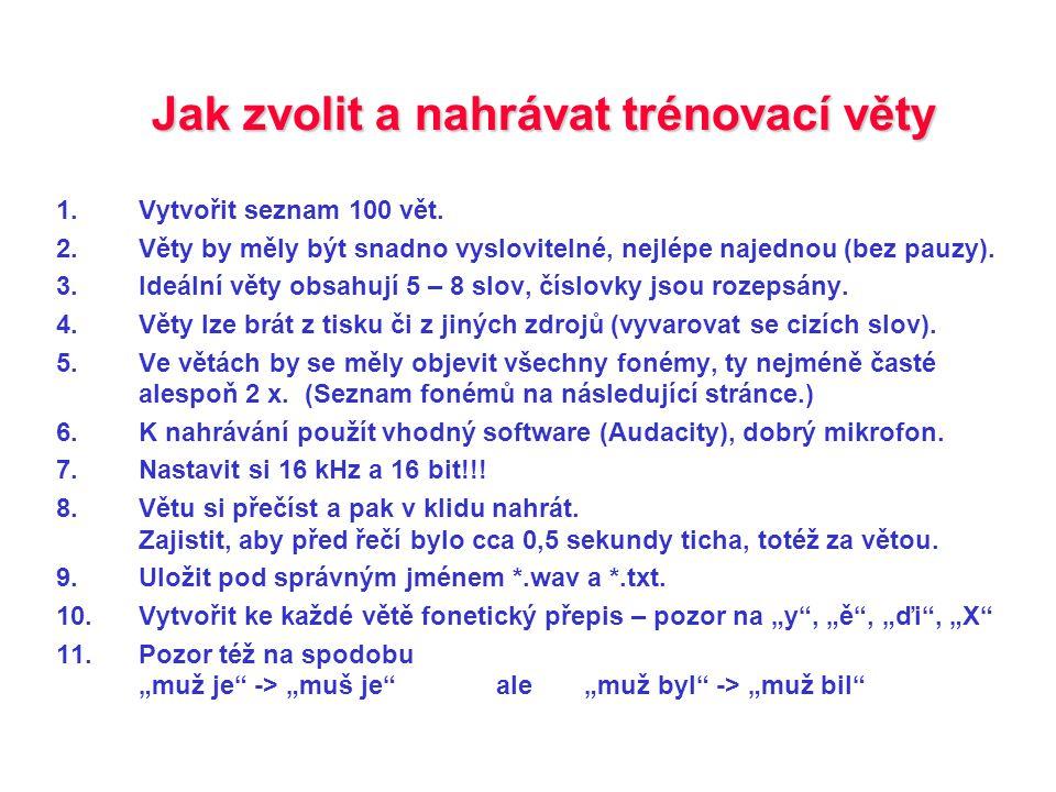 Fonémy v češtině – česká fonetická abeceda Nouza, J., Psutka, J., Uhlíř, J.: Phonetic Alphabet for Speech Recognition of Czech.