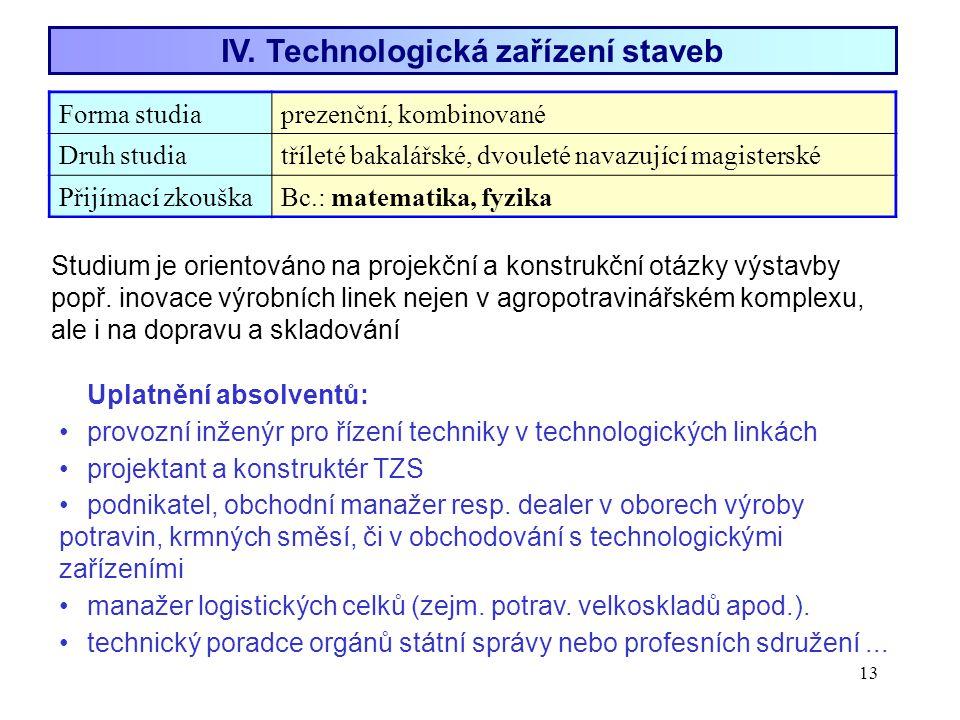 13 IV. Technologická zařízení staveb Forma studiaprezenční, kombinované Druh studiatříleté bakalářské, dvouleté navazující magisterské Přijímací zkouš