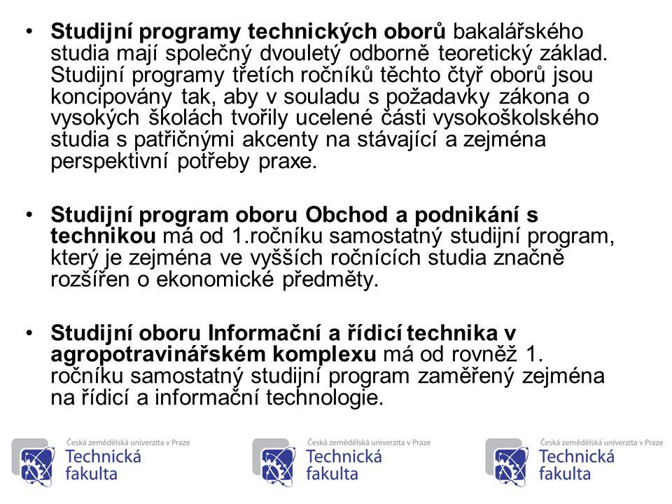 18 •Studijní programy technických oborů bakalářského studia mají společný dvouletý odborně teoretický základ. Studijní programy třetích ročníků těchto