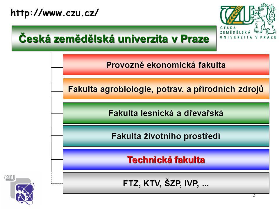 2 Česká zemědělská univerzita v Praze Provozně ekonomická fakulta Fakulta agrobiologie, potrav. a přírodních zdrojů Fakulta lesnická a dřevařská Techn