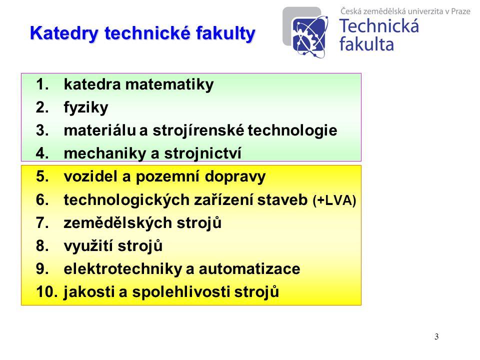 3 Katedry technické fakulty 1.katedra matematiky 2.fyziky 3.materiálu a strojírenské technologie 4.mechaniky a strojnictví 5.vozidel a pozemní dopravy