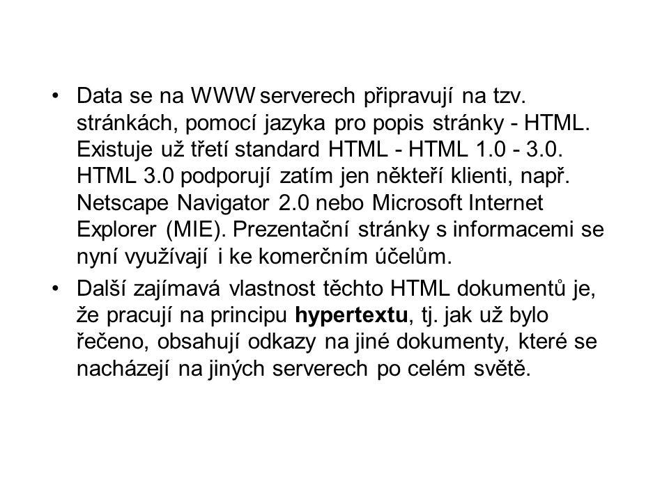 •Data se na WWW serverech připravují na tzv. stránkách, pomocí jazyka pro popis stránky - HTML.