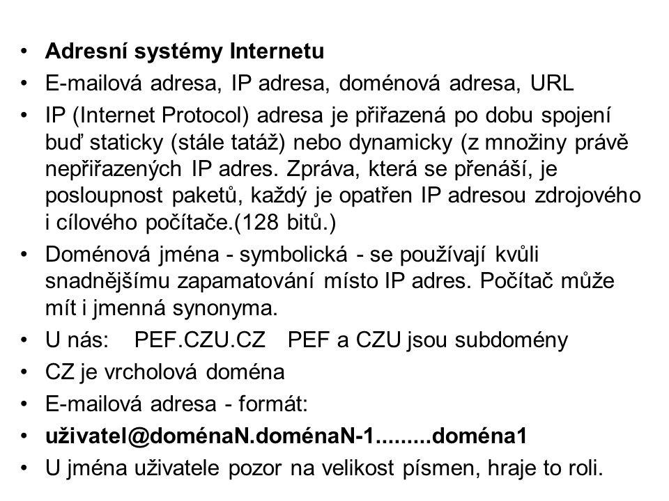 •Adresní systémy Internetu •E-mailová adresa, IP adresa, doménová adresa, URL •IP (Internet Protocol) adresa je přiřazená po dobu spojení buď staticky (stále tatáž) nebo dynamicky (z množiny právě nepřiřazených IP adres.